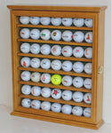 Golf Ball Display Case Cabinet Holder Rack Stand, Solid Wood (Oak)