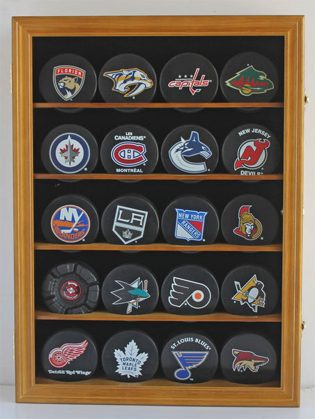 Hockey Puck Display Case Shadow Box Wall Cabinet (Pucks not inlcuded), UV Protection Door (Oak)