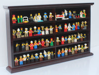 Kid-Safe LEGO Minifigures Miniature Action Figures Display Case Wall Cabinet Stand, Solid Wood (Mahogany)