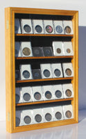 Collector NGC PCGS ICG Coin Slab Display Case Cabinet Holder Rack (Oak)