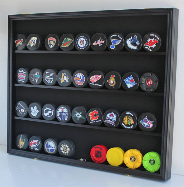 Large 35 Hockey Puck Display Case Wall Cabinet Shadow Box, UV Protection door, (Oak Finish)