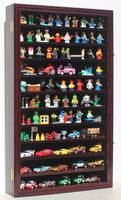 Hot Wheels Matchbox 1/64 scale Diecast Display Case Cabinet Wall Rack w/UV Protection (Mahogany Finish)