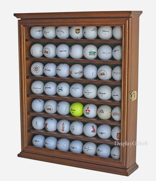 49 Golf Ball Display Case Cabinet Wall Rack Holder w/Lockable Door (Walnut)