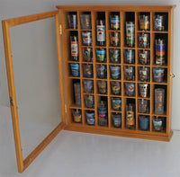 41 Shot Glass Display Case Cabinet Holder- with Glass Door, Wall Mountable
