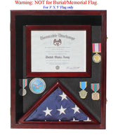 Military Shadow Box 3'X5' Flag Display Case, for 3'X5' Flag, Certificate, Medals, FC17-MAH
