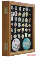 Pin Display Case Jewelry Shadow Box, with glass door, wall mount, Oak Finish (PC02-OAK)