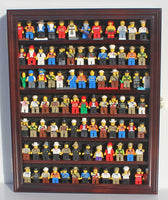 Lego Minifigures Display Case Wall Thimble Cabinet Shadow Box, solid wood (Mahogany Finish)