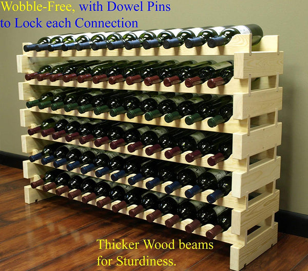 Stackable Modular Wine Rack Stackable Storage Stand Display Shelves, Wobble-Free, Pine wood, (144 Bottle Capacity, 12 rows x 12)