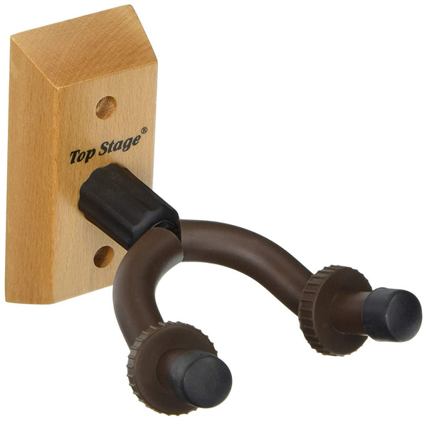 TopStage JX15-NAT Top Stage Home and Studio Guitar Keeper (Hanger) Stand Holder Rack w/ Hardwood Base Wall Mount, JX-15