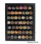 Military Challenge Coin Display Case Cabinet Rack Shadow Box Wood, (COIN46-BL)