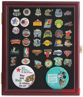 Pin/Medal Display Case Shadow Box, glass door, Cherry Finish (PC02-CH)