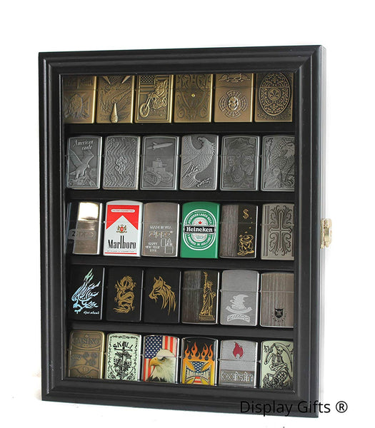 Wall Display Case Cabinet Shadowbox to Hold Sport/Military Lighters in Original box (Mahogany)