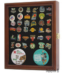 Pin/Medal Display Case Shadow Box, glass door, wall mount, Walnut Finish (PC02-WA)
