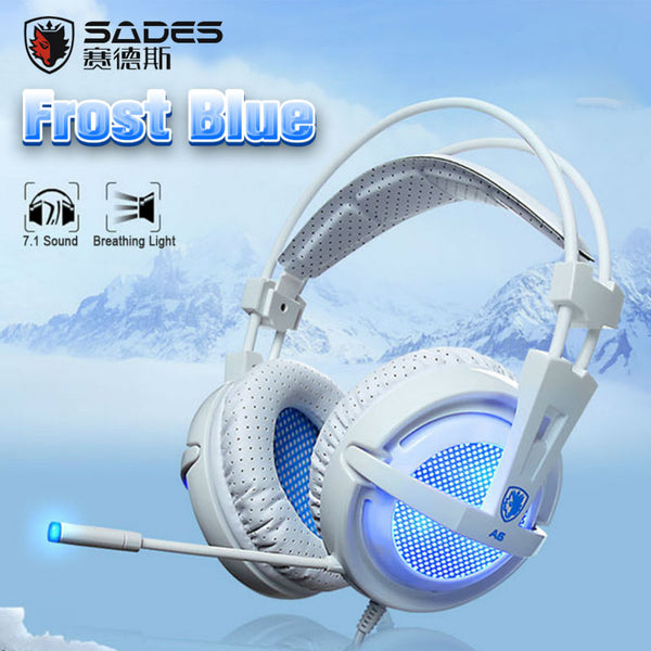 A6 Gaming Headphones LED Lights Headset for PC Gamer