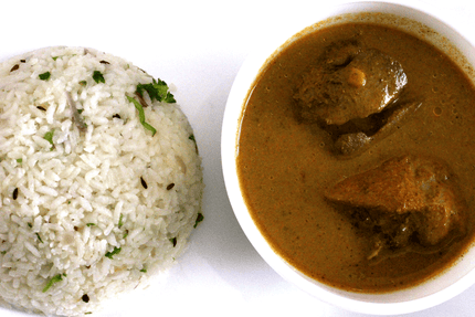 Jeera Rice  Chicken Gravy With Soft Drink