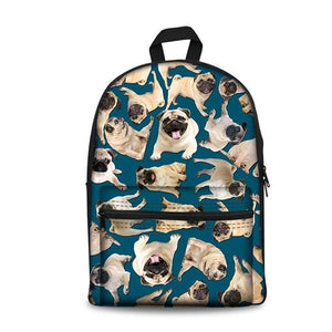 Pug School Backpacks 16 (have Pocket in Front) - Back To School