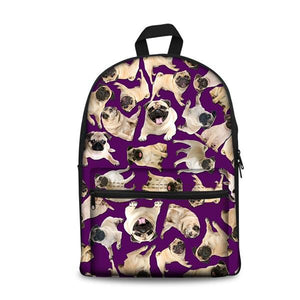 Pug School Backpacks 17 (have Pocket in Front) - Back To School