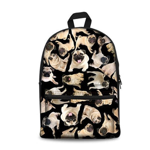 Pug School Backpacks 18 (have Pocket in Front) - Back To School
