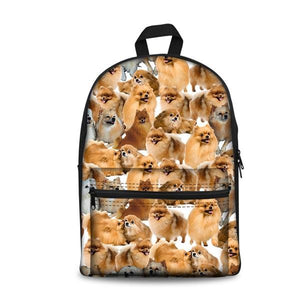 Cute Dog School Backpacks (have Pocket in Front) - Back To School