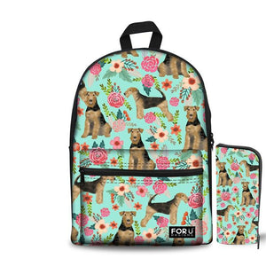 Airedale Terrier School Backpacks (have Pocket in Front) 2Psc/ set- Back To School