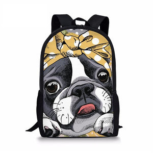 Boston Terrier Primary School Backpack 7- Back To School