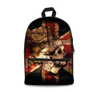 Skull Art School Backpacks (have Pocket in Front) - Back To School