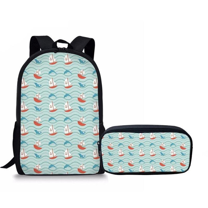 Cute Dolphin Primary School Backpack 2Pcs/set 2 - Back To School