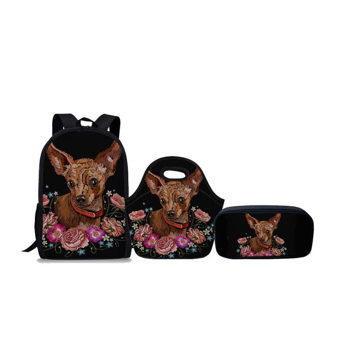 Chihuahua Primary School Backpack 3Pcs/set - Back To School