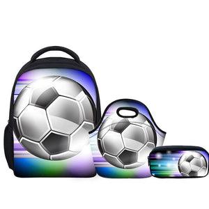 Foot Ball School Bags 3 For Children Kindergarten 3Pcs/set - Back To School