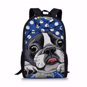 Boston Terrier Primary School Backpack -3Pcs/set - Back To School