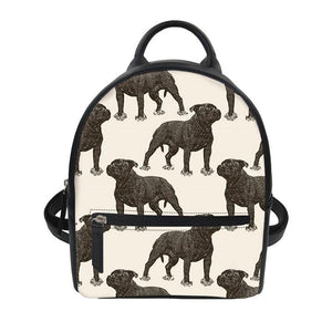 Cute Bull Terrier Leather Backpacks 4- Back To School