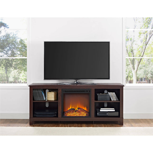Ameriwood Home Edgewood TV Console with Fireplace for TVs up to 60