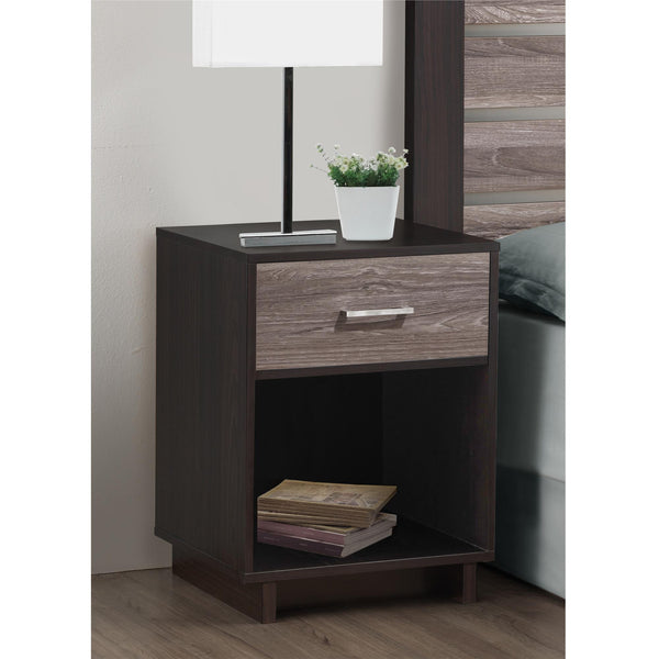 Ameriwood Home Colebrook Nightstand - Weathered Oak/Espresso