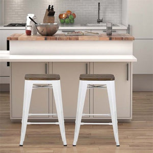 "DHP Fusion 24"" Metal Backless Counter Stool with Wood Seat, Set of 2"