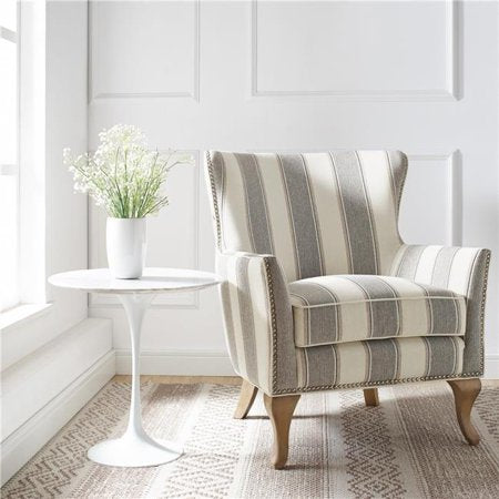 Dorel Living Reva Accent Chair, Gray Striped