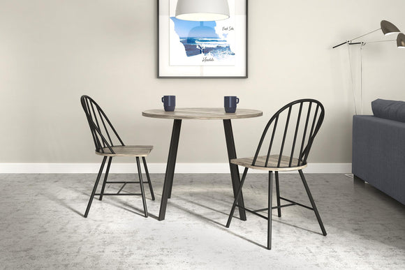 Novogratz Leo Farmhouse Dining Chair, Black Metal/Grey Wood