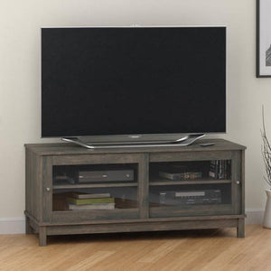 "Mainstays 55"" TV Stand with Sliding Glass Doors,Dark Gray Oak"