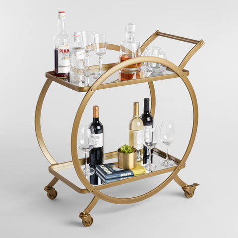 Asher 2-Tier Antique Gold Rolling Bar Cart