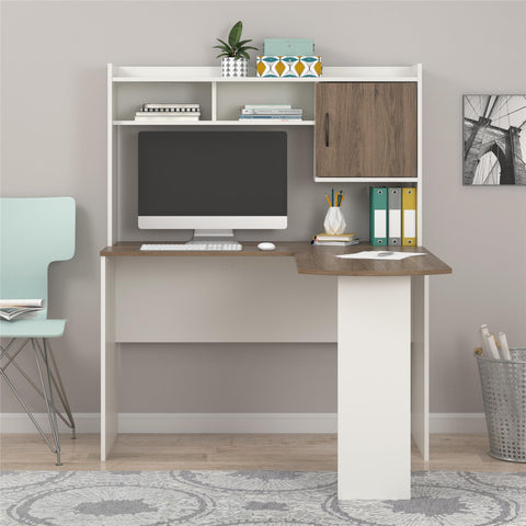 Mainstays L-Shaped Desk with Hutch,White