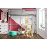 YourZone Metal Loft Bed, Twin Size, Silver
