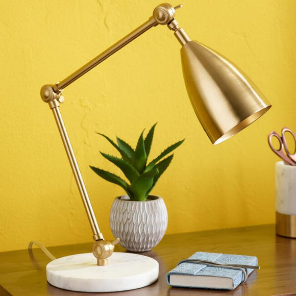 Gold Adjustable Task Desk Lamp With Marble Base