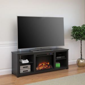 "Ameriwood Home Edgewood TV Console with Fireplace for TVs up to 60"" Black"