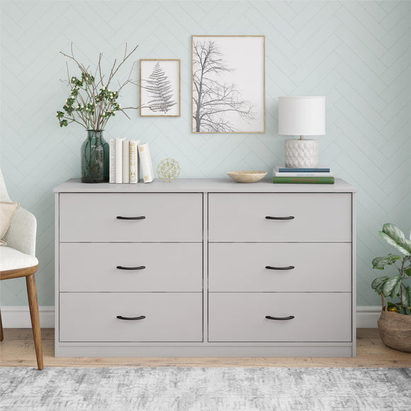 Mainstays Classic 6 Drawer Dresser, Dove Gray Finish