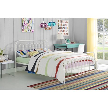 Novogratz Bright Pop Metal Bed, Full, White