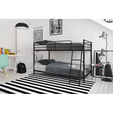 Mainstays Small Space Twin over Twin Bunk Bed,Black