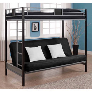 DHP Silver Screen Twin Over Futon Metal Bunk Bed, Silver