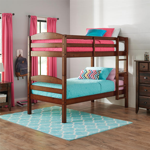 Better Homes and Gardens Leighton Twin Over Twin Wood Bunk Bed, Walnut