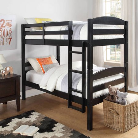 Better Homes and Gardens Leighton Twin Over Twin Wood Bunk Bed, Black