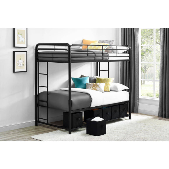 Mainstays Twin Over Twin Metal Bunk Bed with Storage Bins, Black