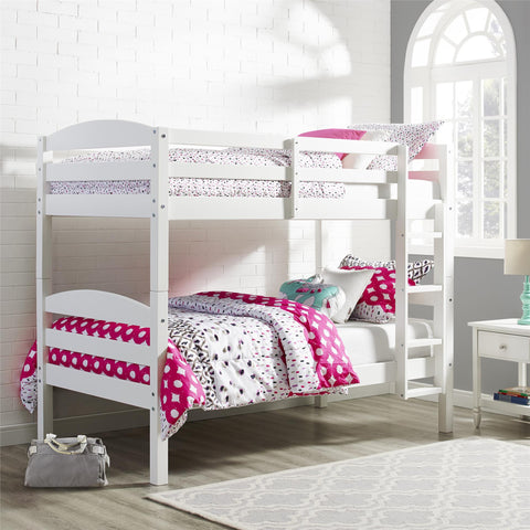 Better Homes and Gardens Leighton Twin Over Twin Wood Bunk Bed,  White